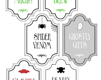 Halloween Bottle / Drink Labels - Available in other sizes - Perfect for Parties