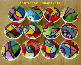 Abstract Art Stain Glass Wood Drawer Knob OR Hearts Bright Art Wood Drawer Knob on Cherry Wood Knobs 1.5 x 1.18  Dresser Knobs Drawer Pull