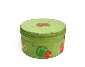 Vintage Pantry Box Large Rustic Farmhouse Round Kitchen Tin 1930s Apple Green Milk Paint Garden Vegetables