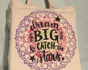 Market Bag Reusable Bag DREAM BIG Cotton Canvas Grocery Tote Sturdy & Washable