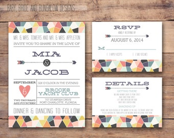 Geometric wedding invitation with response and details card: printable and customizable 5x7