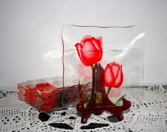 Vintage snack plates, clear & red tulips, 1980s