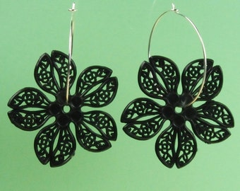Vintage Black Lucite Flower Hoop Earrings