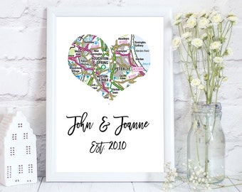 map wedding gift, Wedding gift ideas, wedding gift, Personalized wedding map, custom heart map print, Map heart art print, custom map art