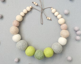 Felt Ball Necklace with Wooden Beads, Felted Wool Necklace, Green Necklace, Chunky Necklace, Statement Jewellery, Sea Breeze, FREE gift box