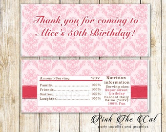 Pink Damask Candy Bar Wrapper - Adult Birthday Candy Labels - Birthday Party Candy Stickers - Printable Candy Wrappers - 50th Birthday Label