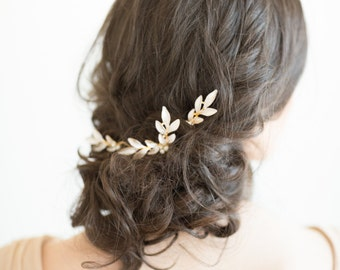 Wedding Hair Pins, Gold Hair Pins, Bridal Hair Pins, Olive Branch Hair Pins, Gold Leaf Hair Pins
