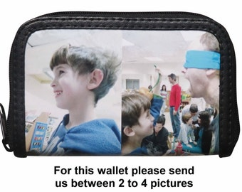 SMALL custom zip wallet with your pictures printed on it - FREE SHIPPING - custom name purse initials printed gift written customized gifts