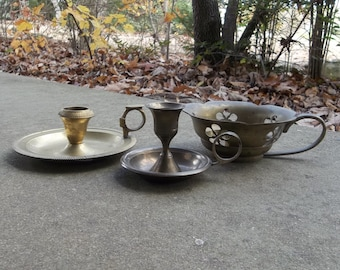 3 Vintage Brass Candle Holders Finger Candleholders Candlesticks Rustic Lighting French Country Farmhouse