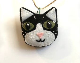Cat Ornament, Felt Cat Ornament, Christmas Ornament, Black and White Cat Ornament, Cat Lover Gift, Hand Embroidered