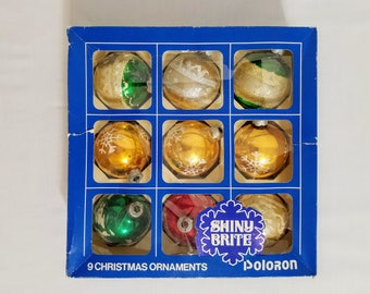 Shiny Brite Christmas Ornaments In Box Stencils Ice Skaters Snowflakes Frosted Glitter