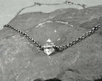Herkimer Diamond Choker Necklace, Herkimer Diamond Jewelry, Dainty Chain Necklace, April Birthstone, Yoga Gift, Sterling Silver Necklace