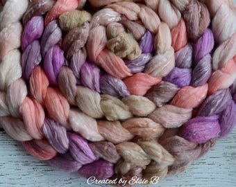 Merino/ Tencel/ Silk 'Prairie Rose' 4 oz spinning fiber, CreatedbyElsieB combed top, hand dyed wool, tencel, hand dyed roving, pink, brown