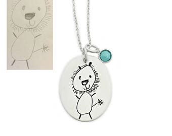 Child's Artwork Jewelry - Children's Drawing Necklace - Actual Handwriting Oval Necklace - Custom Jewelry -  Personalized Keepsake - 1286