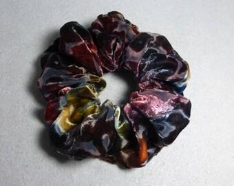 "Velvet Hair Scrunchie ""Brown and Rust"", Hand Painted Rayon/Silk Burnout Velvet Scrunchie"