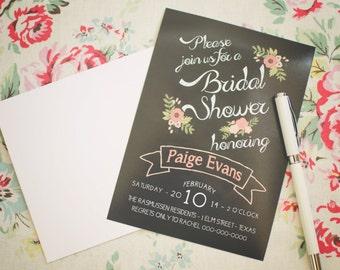 Wedding or Bridal Shower Chalkboard Invitation - Customized - 5x7