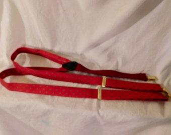 Vintage Braces Mens Suspenders Red Suspenders Small Geometric Print