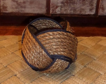 """Rope Basket Bowl 6"""" x 8"""" Natural and Navy Rope Woven Tightly Kotted Nautical Decor"""