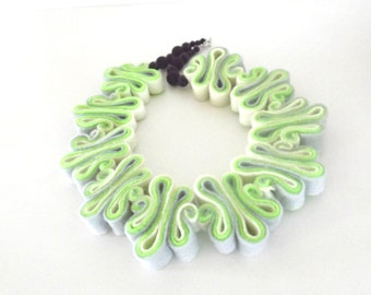 Statement Necklace Jewelry Ombre Felt Necklace Felted Jewelry Recycled Eco Friendly Felt Bib Necklace In Neon Green