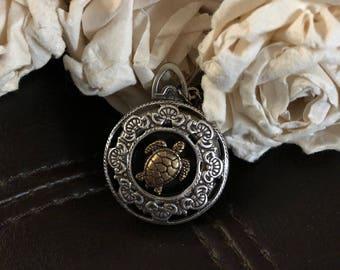 Sea turtle locket, sea turtle necklace, turtle gift, four photo locket, multiple photo locket,turtle necklace, ocean jewelry, turtle jewelry