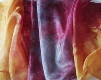 Hand Painted Silk Scarf in Soft Pinks, Silver Grey and Golden Yellow in an Abstract Design