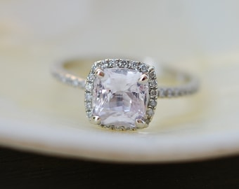 White Sapphire Engagement Ring. Cushion cut sapphire ring. Square cushion 14k white gold diamond ring 1.5t sapphire ring by Eidelprecious.