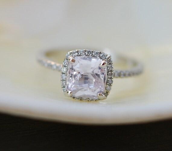White Sapphire Engagement Ring. Cushion cut sapphire ring. Square cushion 14k white gold diamond ring 1.5t sapphire ring by Eidelprecious.