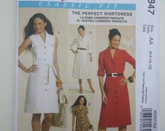 Summer dress/ sleeveless /Button down/collar /princess seams dress/ 2009 sewing pattern, Size 6 8 10 12, Bust 30 31 32 34, McCalls M 5847