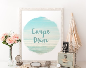 Ocean wall art Carpe Diem quote printable instant download digital 8 x 10 Inspirational beach sea art typography print home decor