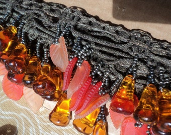 Antique Czech Glass Beaded Trim 1920s on Metallic Braided loop trim bullion lampshade jewelry