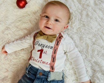 My first Christmas outfit, Christmas morning outfit, Santa pictures outfit, 1st Santa Claus outfit, baby boy's first Christmas