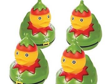 Christmas Elf rubber duckies (4)party favors/cupcake toppers, party supplies, rubber ducks, Elf, stocking stuffer