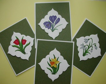 Set of 4 Spring Flowers notecards handmade hand colored