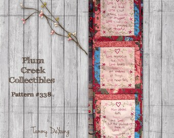 Bible Verse Embroidery Pattern *1 Corinthians 13 stitchery* love Scripture hand work for wedding gift, Valentines, love and friendship
