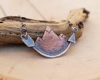 Mini Mountainscape Necklace with Arrow