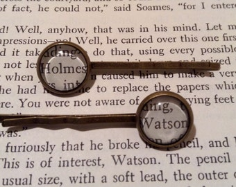 Sherlock Holmes Hair Pins / Holmes and Watson / Hair Accessory / Bobby Pins / Bookworm Gift Idea / Bookish Hair Pins / Stocking Stuffer