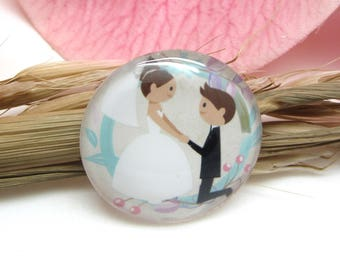 2 cabochons 14 mm glass wedding 3-14 mm
