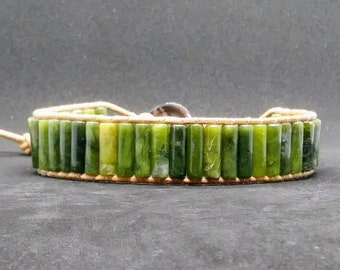 """Genuine Green Aventurine Wrap Bracelet on Natural Leather Cord - Fits 8"""" to 9"""""""