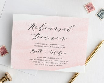 Printable Rehearsal Dinner Invitation Template, Before We Do, We Dine, Blush Pink Rehearsal Dinner Invitations, Instant Download