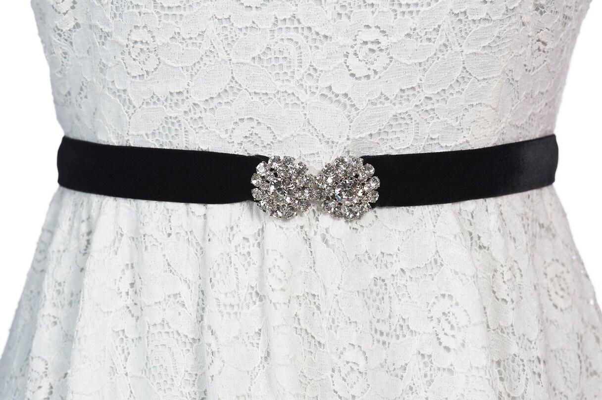 Samtgürtel mit echtem Kristall Haken Brautgürtel Hochzeit