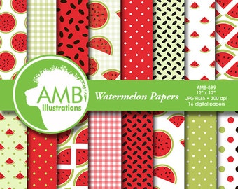 Watermelon digital papers, Picnic papers, Watermelon scrapbook papers, Red and green Watermelon Patterns, commercial use, AMB-899