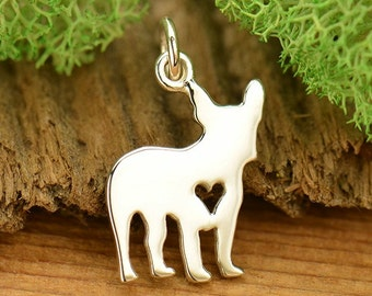 Sterling Silver French Bulldog Charm. French Bulldog Gift. Boston Terrier Charm.