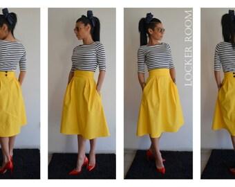 A-Line Maxi Skirt /plus size skirt /Yellow maxi skirt /High waist skirt / Wedding skirt /Midi skirt /Full skirt/Skirt with pockets