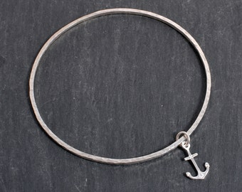 Sterling Silver square hammered bangle anchor charm 925 silver stacking bangle
