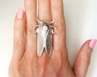 Cicada ring Solid Sterling Silver Cicada jewelry insect ring bug ring steampunk ring steampunk jewelry statement ring
