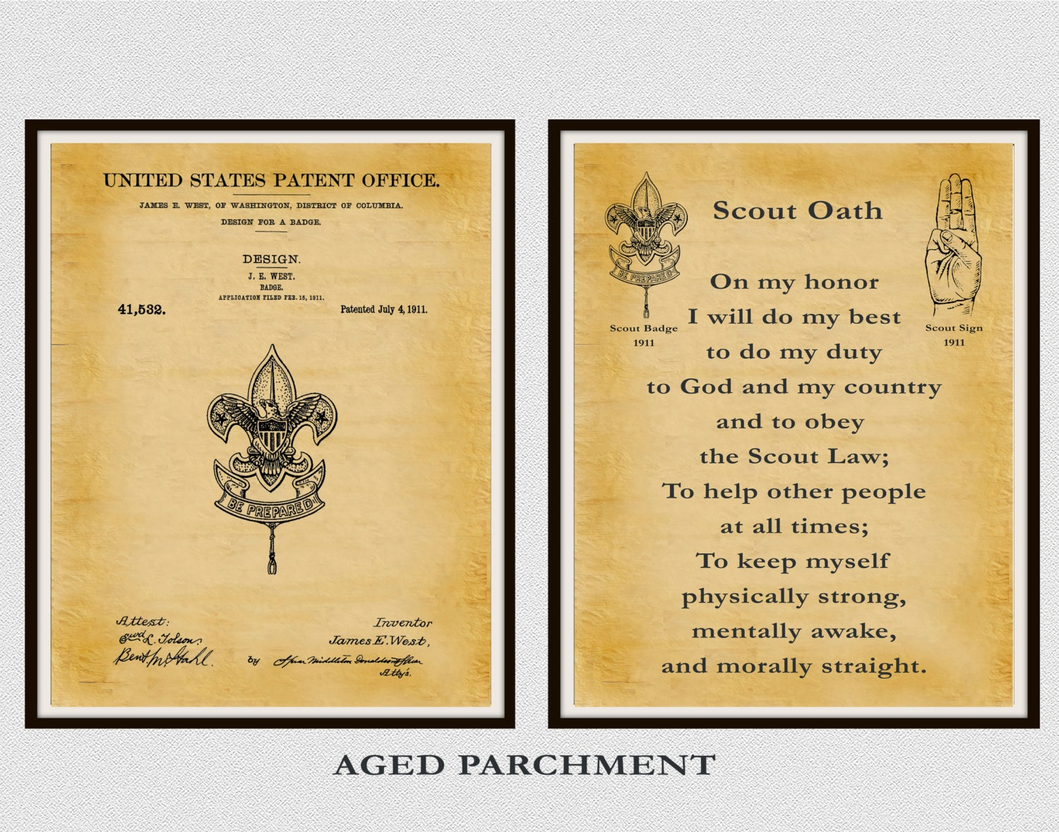 Patent 1911 Boy Scout Badge and Boy Scout Oath - Set of 2 Prints ...