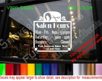 Store Hours Custom Window Decal Business Shop Storefront Door