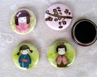 4 Kokeshi Doll Magnets, Cherry Blossom Magnets, One Inch Magnets, Doll Magnets, Dolls, Fridge Magnet, Refrigerator Magnet, Kokeshi Doll