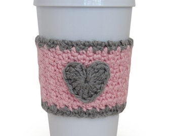Crochet Heart Coffee Cup Cozy in Light Pink and Heather Gray