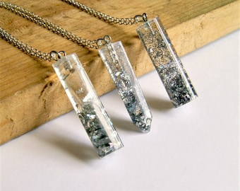 crystal resin pendant, silver, pendant necklace, tube pendant, sparkle, silver necklace, gift for her, under 20